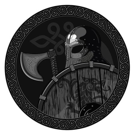 Krijger Barbaarse Viking Berserker met bijl en schild Stock Illustratie