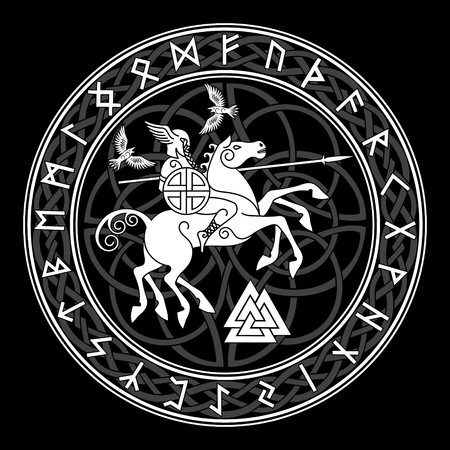 God Wotan, riding on a horse Sleipnir with a spear and two ravens in a circle of Norse runes. Illustration of Norse mythology
