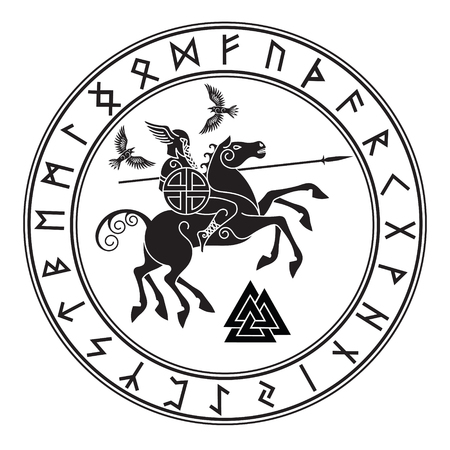 God Wotan, riding on a horse Sleipnir with a spear and two ravens in a circle of Norse runes.