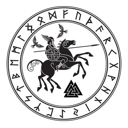 Gott Wotan, der auf einem Pferd Sleipnir mit einem Speer und zwei Raben in einem Kreis von nordischen Runen reitet.