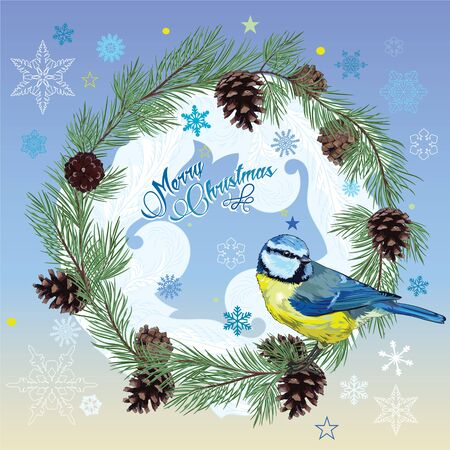 chickadee: Christmas card. Titmouse sitting on pine branch with cones and the circle of snowflakes Illustration