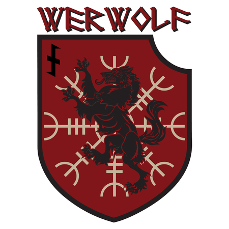 Design patch. Heraldic shield with a Werewolf, Helm of Awe and rune Wolfsangel Illustration