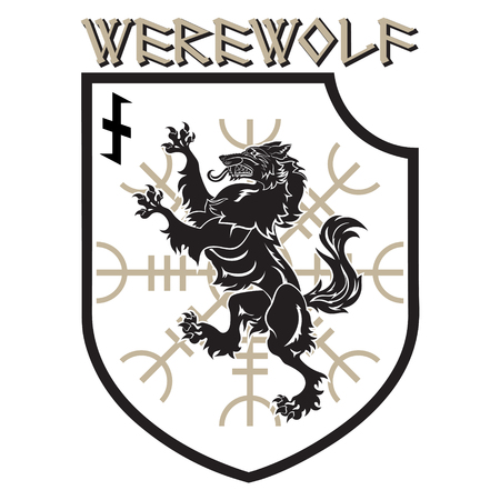 Design Patch. Heraldic Shield With A Werewolf, Helm Of Awe And ...