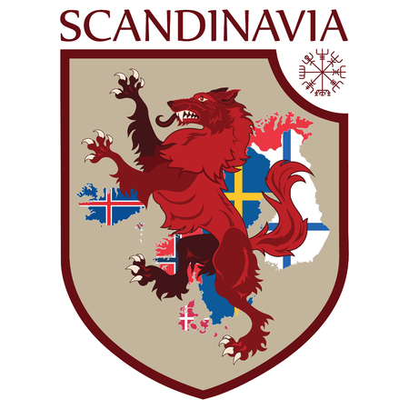 Scandinavian design. Heraldic shield, a wolf on a background map of the Scandinavian Countries - Sweden, Norway, Denmark and Finland, Iceland, Faroe Islands Illustration