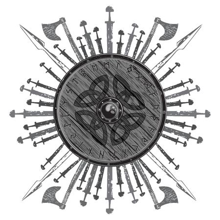 Viking ontwerp. Het schild van een Viking met runen, strijdbijlen, zwaarden en speren