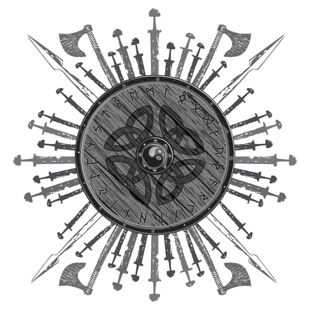 Viking design. The shield of a Viking with runes, battle axes, swords and spears