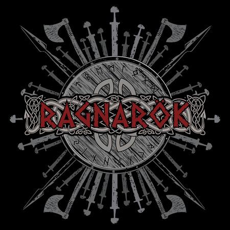 Ontwerp van Ragnarok Viking. Het schild van een Viking met runen, strijdbijlen, zwaarden en speren