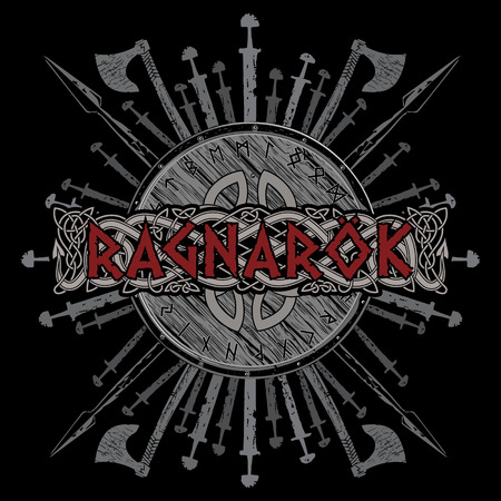 Ragnarok Viking design. The shield of a Viking with runes, battle axes, swords and spears Иллюстрация