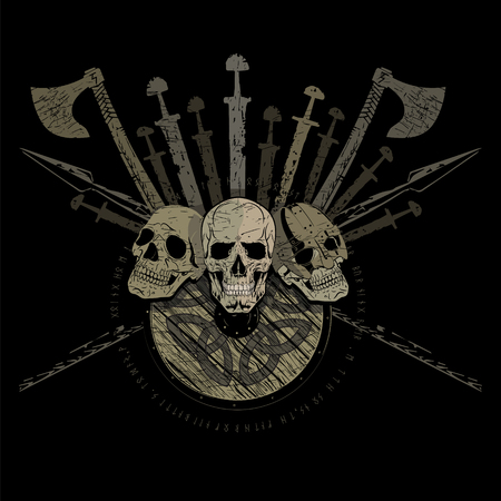 Ragnarok Viking design. Three skulls of Vikings, the shield of a Viking with runes, battle axes, swords and spears