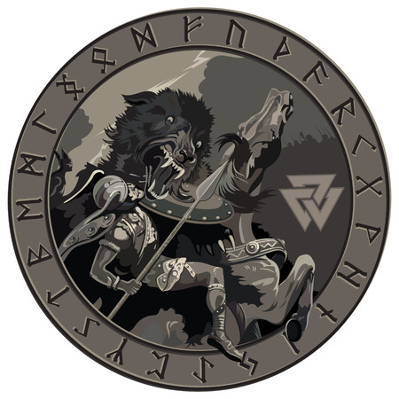 Ragnarok battle of the God Odin with the wolf Fenrir. Illustration of Norse mythology Stock Vector - 90665768