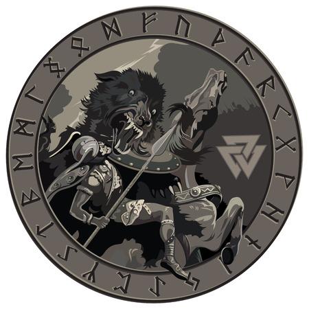 Ragnarok battle of the God Odin with the wolf Fenrir. Illustration of Norse mythology Illustration