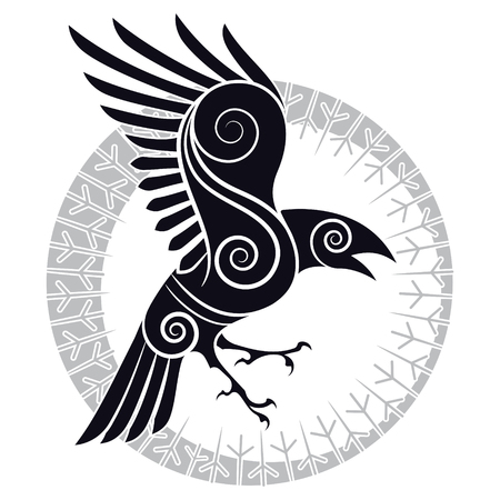 The Raven of Odin in a Celtic style and design runic circle