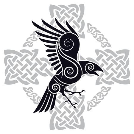 셀 틱 스타일 패턴의 켈트 십자가에서 오딘의 까마귀 일러스트