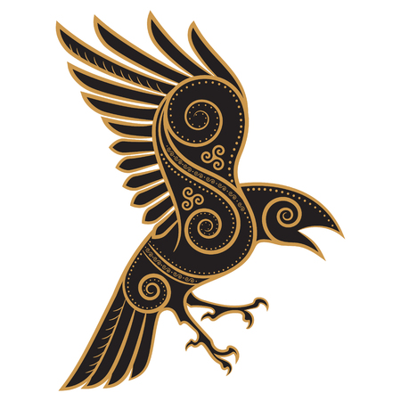 Odins Raven hand-drawn in Celtic style