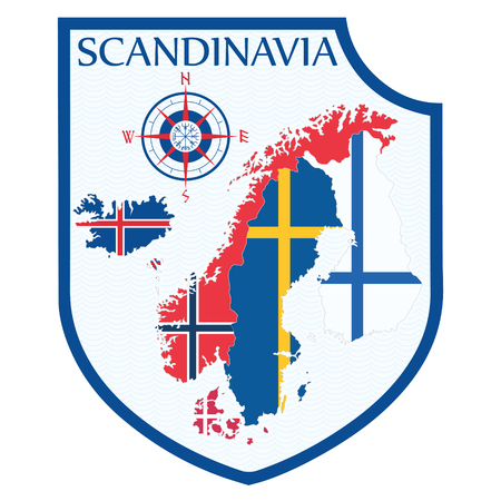 Scandinavian design. Heraldic shield, a background map of the Scandinavian Countries - Sweden, Norway, Denmark and Finland, Iceland, Faroe Islands Stock Photo
