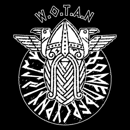 God Wotan and two ravens in a circle of Norse runes. Illustration of Norse mythology.