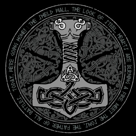God Thor Hammer - Mjollnir. Round traditional Scandinavian ornament and runic text Vettoriali