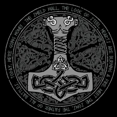 God Thor Hammer - Mjollnir. Round traditional Scandinavian ornament and runic text Stock Illustratie