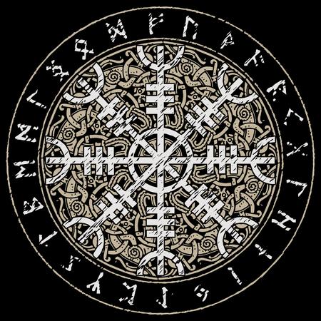 Helm der Ehrfurcht, Helm des Terrors, isländische magische Dauben mit dem skandinavischen Muster, Aegishjalmur, lokalisiert auf Schwarzem, Vektorillustration Vektorgrafik