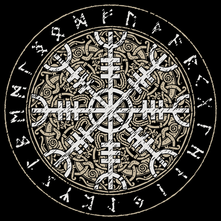 Helm of awe, helm of terror, Icelandic magical staves with scandinavian pattern, Aegishjalmur, isolated on black, vector illustration Stock Illustratie