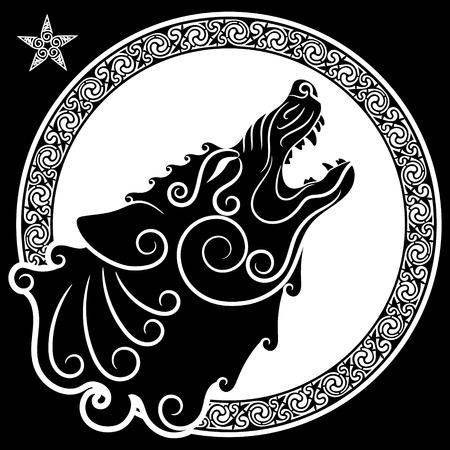 Wolf auf der keltischen Art, heulender Wolf in der keltischen Verzierung, lokalisiert auf Weiß, Vektorillustration