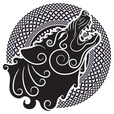 Wolf op Keltische stijl, huilende wolf in Keltisch ornament, geïsoleerd op witte, vectorillustratie