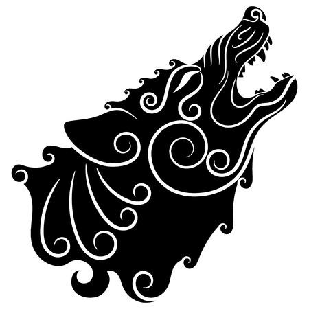 Wolf op Keltische stijl, huilende wolf in Keltisch ornament, geïsoleerd op witte, vectorillustratie.