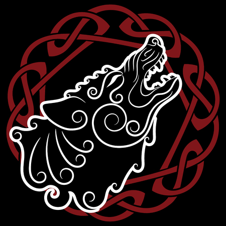 Wolf on celtic style, howling wolf in Celtic ornament, isolated on black, vector illustration Illustration