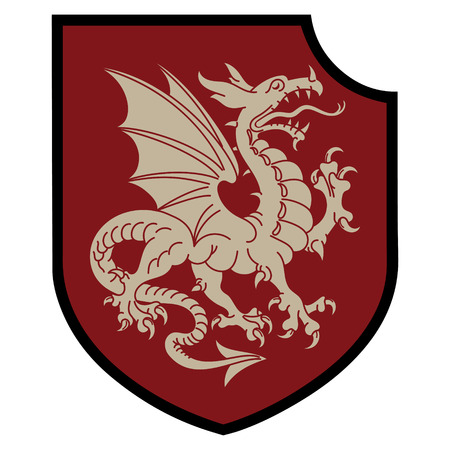 Winged heraldic dragon and heraldic shield, isolated on white, vector illustration Stock Illustratie