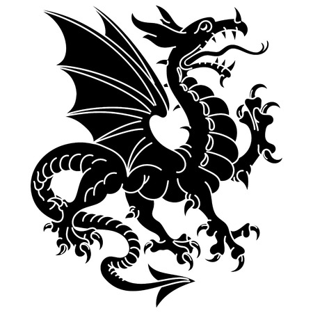 Winged heraldic dragon, isolated on white, vector illustration