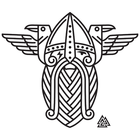 Dios Wotan y dos cuervos. Ilustración de la mitología nórdica, aislada en blanco, ilustración vectorial
