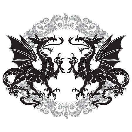Two winged heraldic dragon and Victorian pattern, isolated on white, vector illustration Ilustração