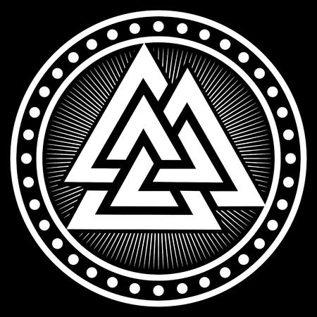 Valknut ancient pagan Nordic Germanic symbol, isolated on black, vector illustration