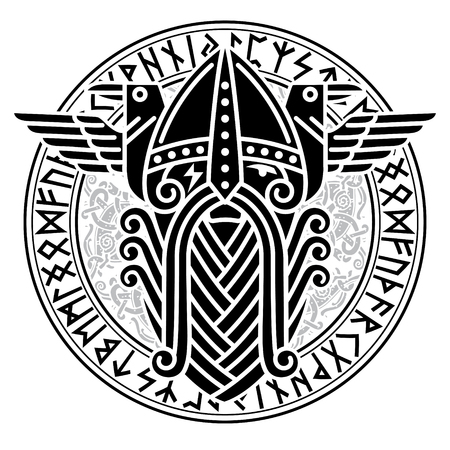 God Wotan And Two Ravens In A Circle Of Norse Runes Illustration