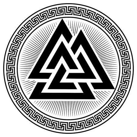 Valknut ancient pagan Nordic Germanic symbol, isolated on white, vector illustration