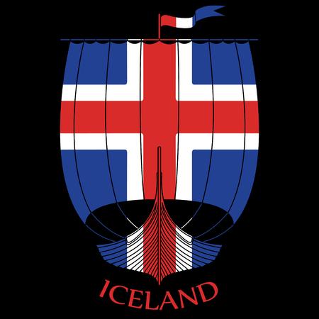 Warship of the Vikings - Drakkar and Iceland flag, isolated on black, vector illustration