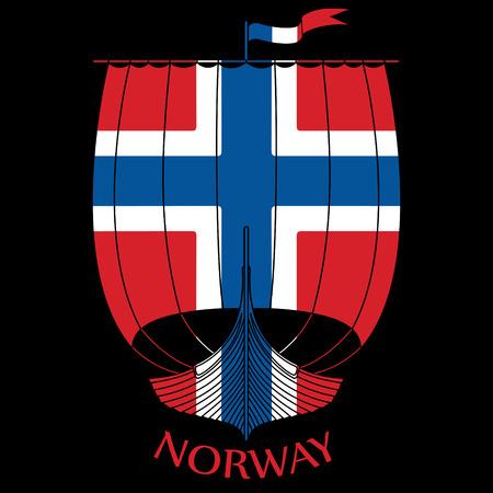 Buque de guerra de los vikingos Drakkar y bandera de Noruega.