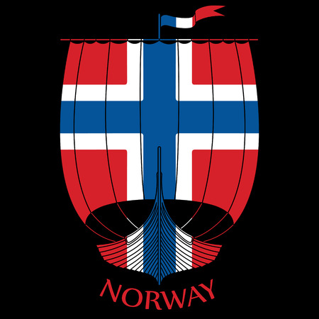 Warship of the Vikings Drakkar and Norway flag.