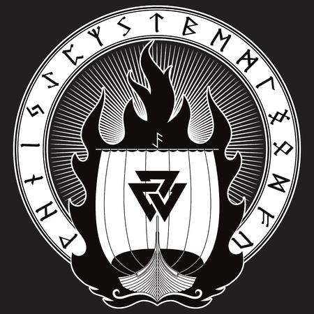 Oorlogsschip van de Vikingen. Drakkar in brand en Noorse runen, geïsoleerd op zwarte, vectorillustratie Stock Illustratie