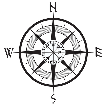 Wind rose, navigation runic compass, vegvisir, isolated on white, vector illustration