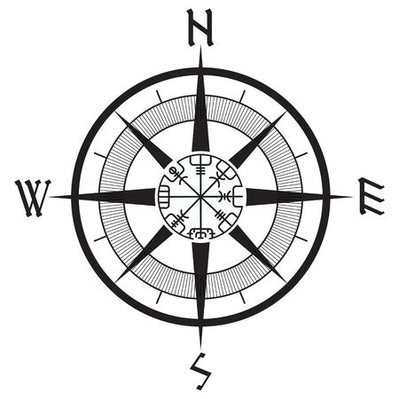 Rosa dei venti, bussola runica di navigazione, vegvisir, isolato su bianco, illustrazione di vettore