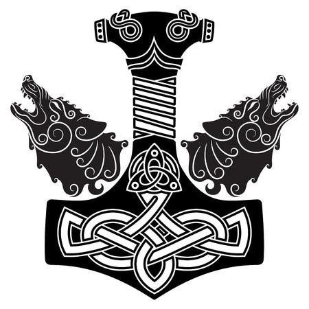 Młot Thora - Mjollnir, skandynawski ornament i dwa wilki