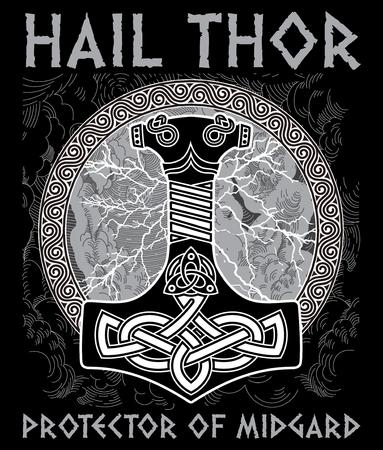Thor s hammer - Mjollnir. Against the backdrop of the glittering lightning and the Scandinavian ornament