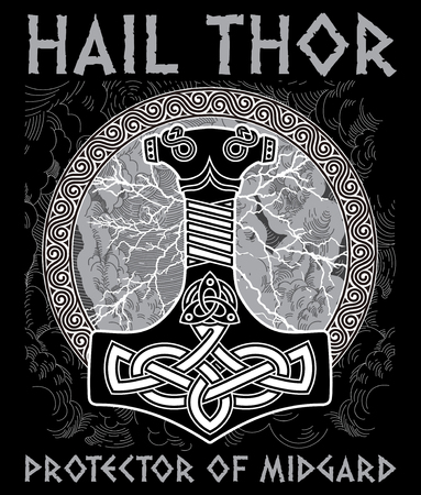 Thor s hammer - Mjollnir. Against the backdrop of the glittering lightning and the Scandinavian ornament