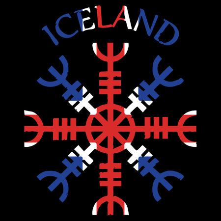 Helm of awe, helm of terror, Icelandic magical staves, Aegishjalmur, with Iceland flag, vector illustration