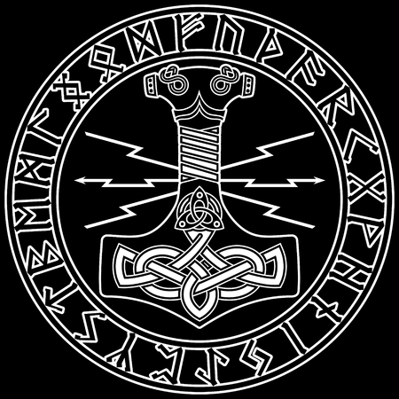 Thor's hammer - Mjollnir and the Scandinavian ornament. Stock Illustratie