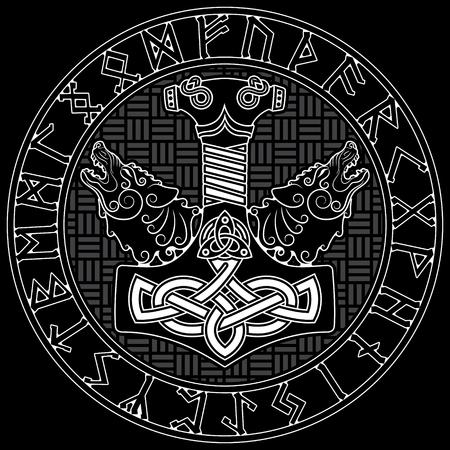 Thor s hammer - Mjollnir, Scandinavian runes ornament and two wolfs, isolated on white, vector illustration Stock Illustratie