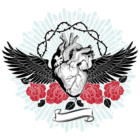 The heart of the unfortunate lover, flying on the wings of despair, embroidered with blood-red roses and spiked stems Illustration