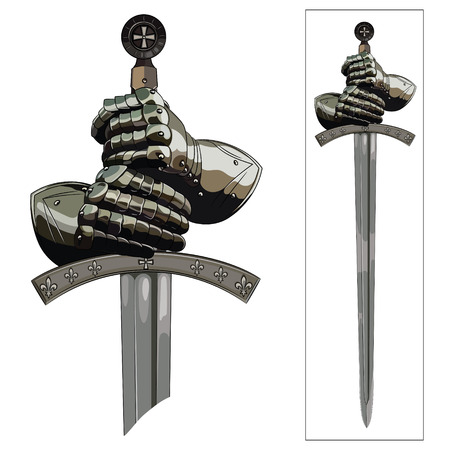 Armour gloves of the knight and the sword of the Crusader. Vector illustration.