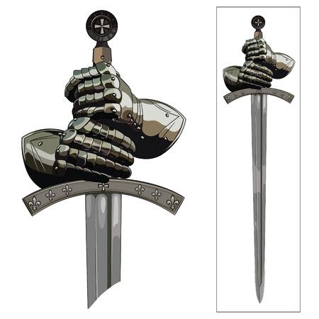 Rękawice zbroi rycerza i miecz krzyżowca. Ilustracji wektorowych.